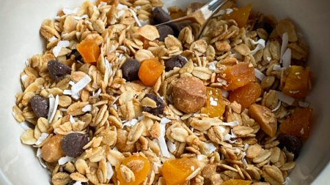 Bowl of Apricot, coconut and macadamia granola with chocolate chips