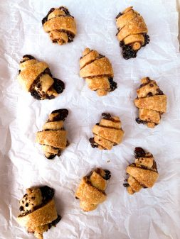 Dorie Greenspan Rugelach or Friendship Cookies on a baking tray
