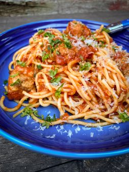 Dorie Greenspan Spaghetti and Meatballs from Everyday Dorie in a blue dish