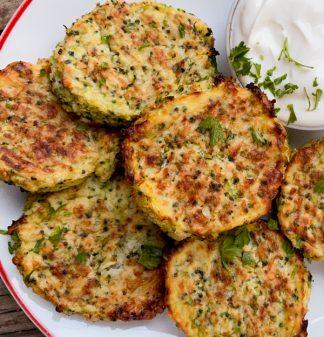 Cauliflower and Broccoli Cheesy Bites on a plate.