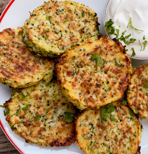 Cauliflower and Broccoli Cheesy Bites on a plate.