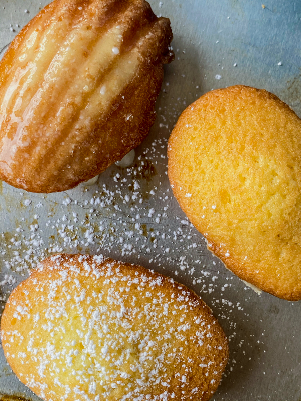 Madeleines glazed and dusted with icing sugar on a baking tray.