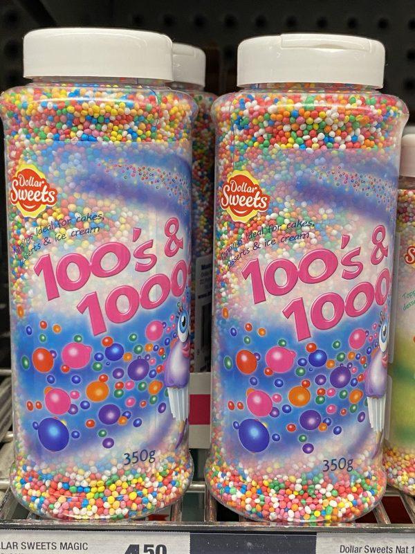 Hundreds & Thousands (aka sprinkles) on a supermarket shelf.