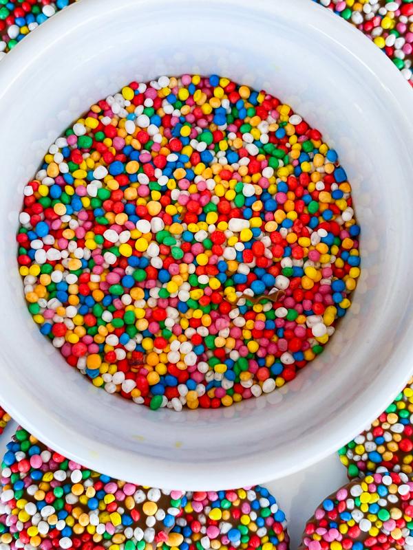 Rainbow nonpareils in a bowl.