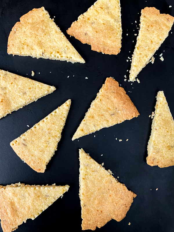 A tray of Fennel-Orange Shortbread Wedges from Dorie's Cookies.