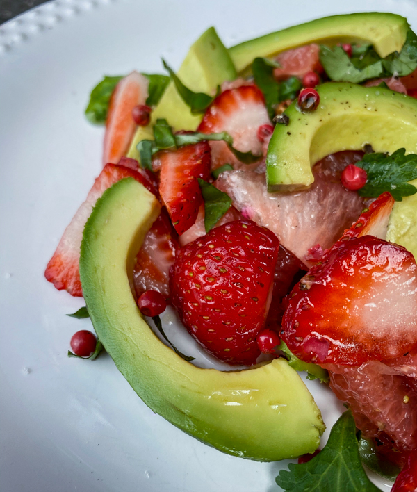 Close up of Spring Avocado and Berry Salad from Everyday Dorie.