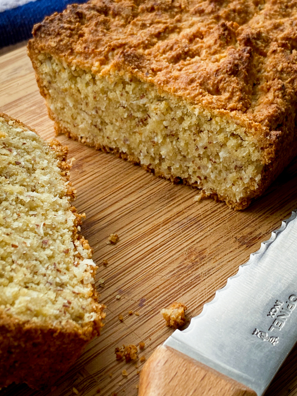 Interiod of Gluten free almond and coconut breakfast loaf.