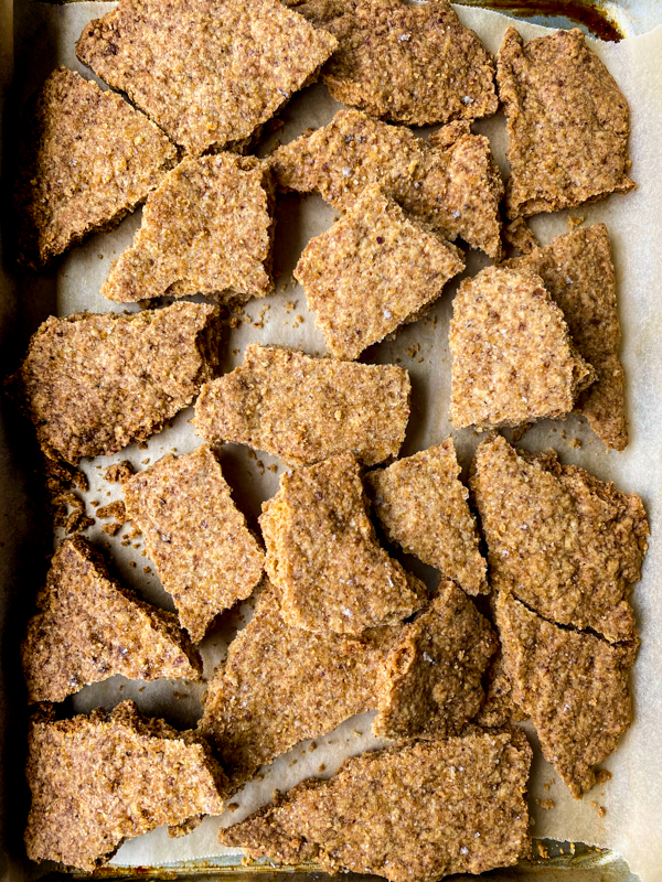 A tray of Dorie Greenspan's pecan brown sugar crack up cookies.