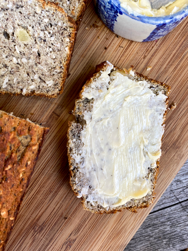 Buttered slice of Banana, pineapple and coconut bread.