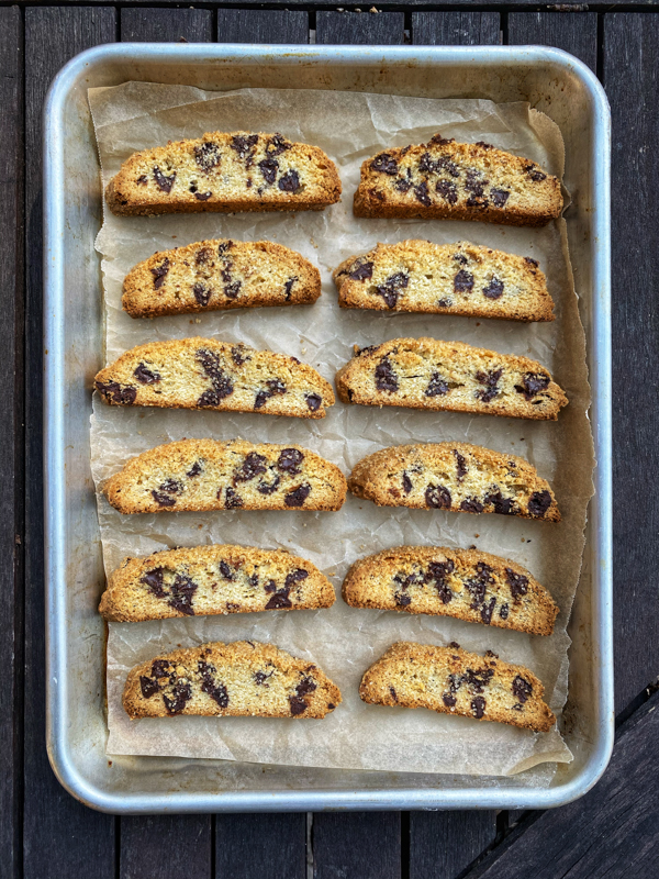 A tray of Dorie Greenspan's Chocolate Chip Not-Quite Mandelbrot.