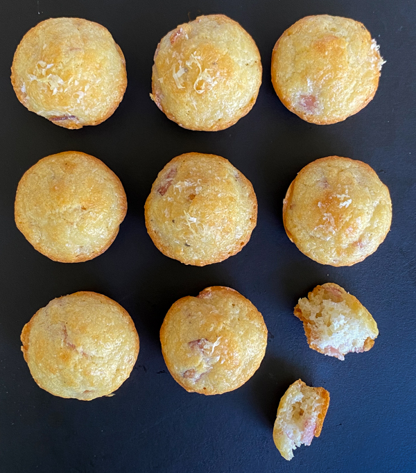 A tray of savoury ham and cheese financiers.
