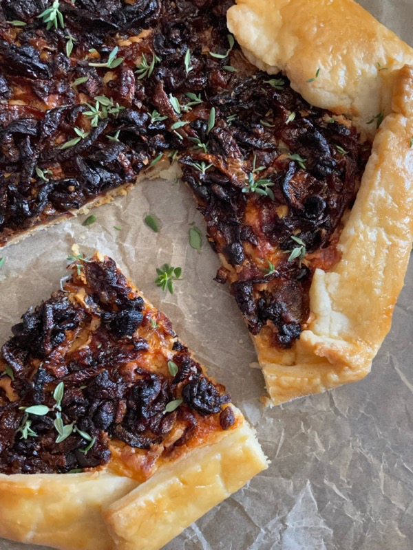 Caramelized onion galette with parm cream from Everyday Dorie.